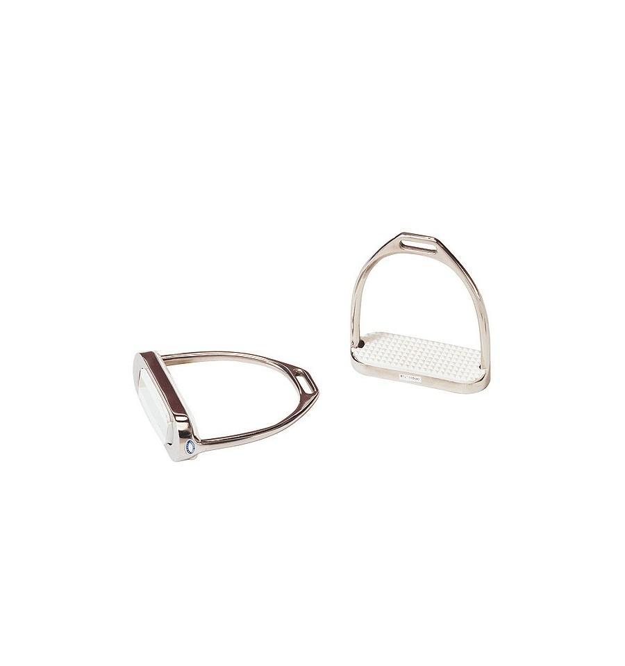 Estribos de acero inoxidable taco de goma blanco 12 cms