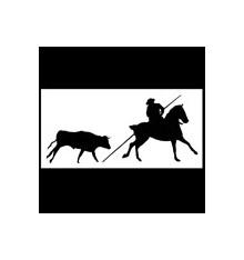 Pegatina silueta caballo y doma vaquera