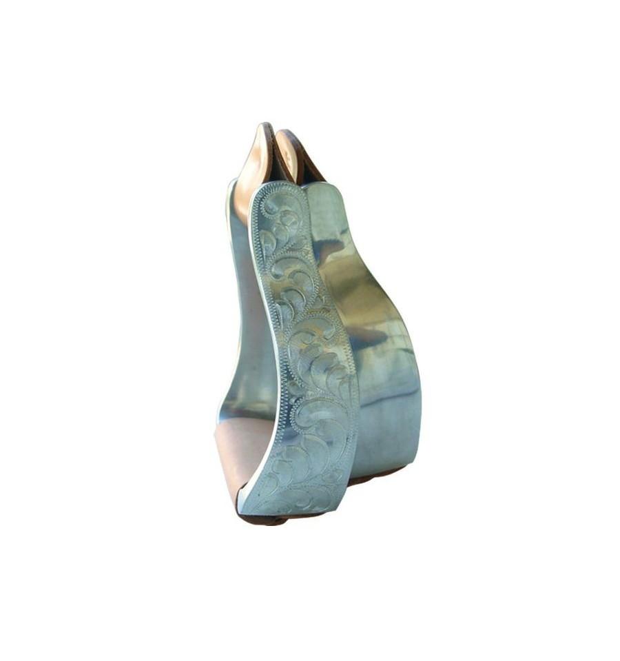 Estribos western labrados de aluminio