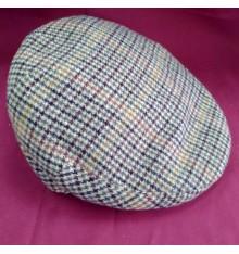 Gorra campera de invierno marrón claro cuadro grande