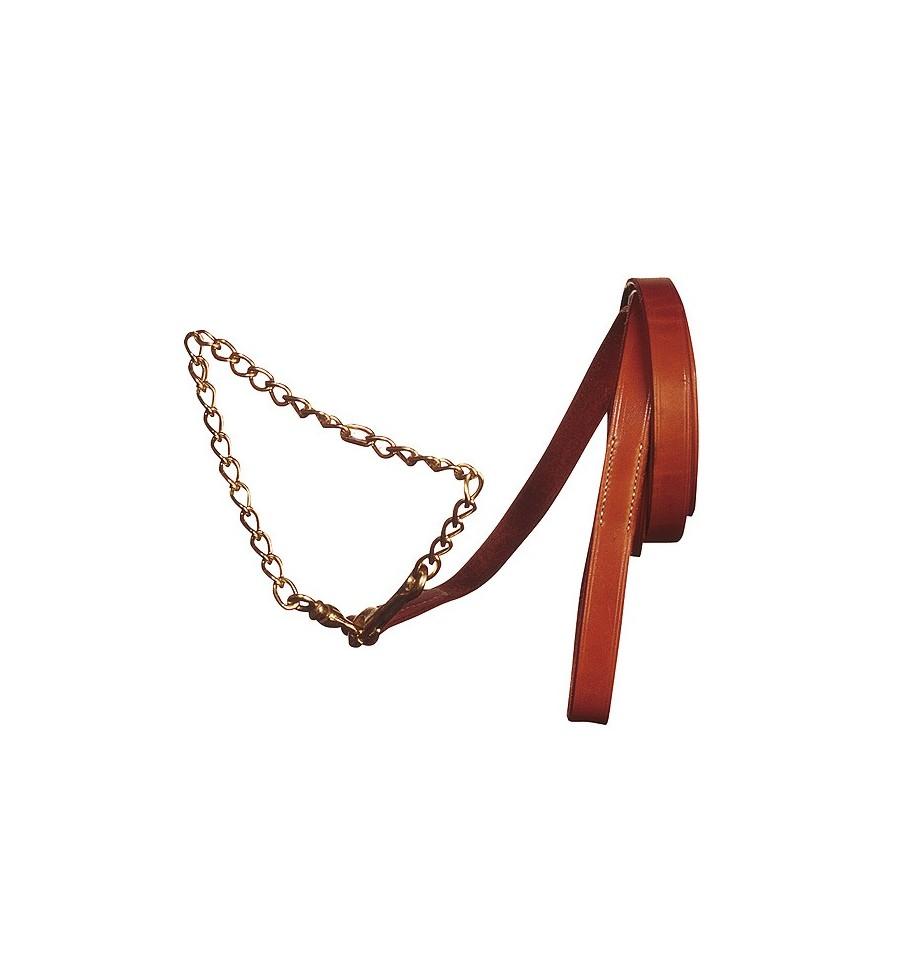Ramal de cuero liso con cadena para presentación
