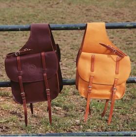 Alforja para caballo estilo western en cuero