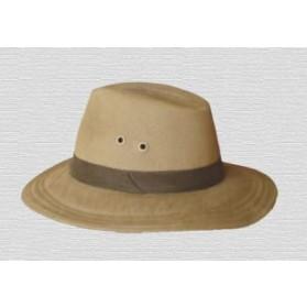 Sombrero de lona beige con cinta