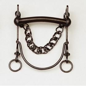 Bocado vaquero pavonado barra curva embocadura recta
