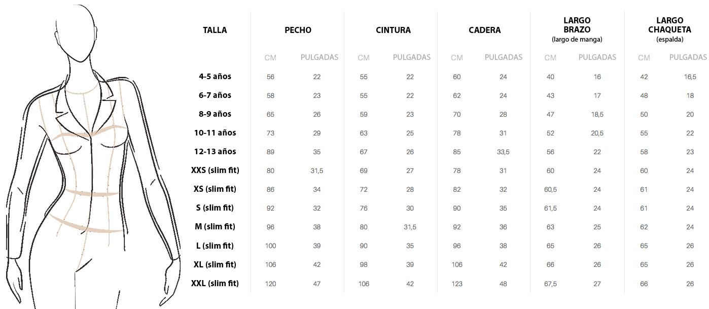 TABLA MEDIDAS CAVALLIERA